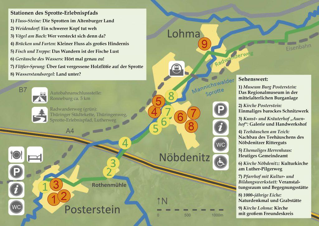 Karte: Der Sprotte-Erlebnisweg zwischen Lohma, Nöbdenitz und Posterstein