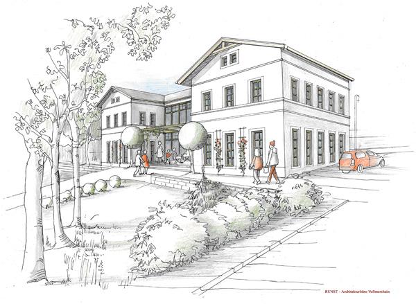 Entwurf für den geplanten Gesundheitsbahnhof Nöbdenitz von RUNST – Architekturbüro Vollmershain.