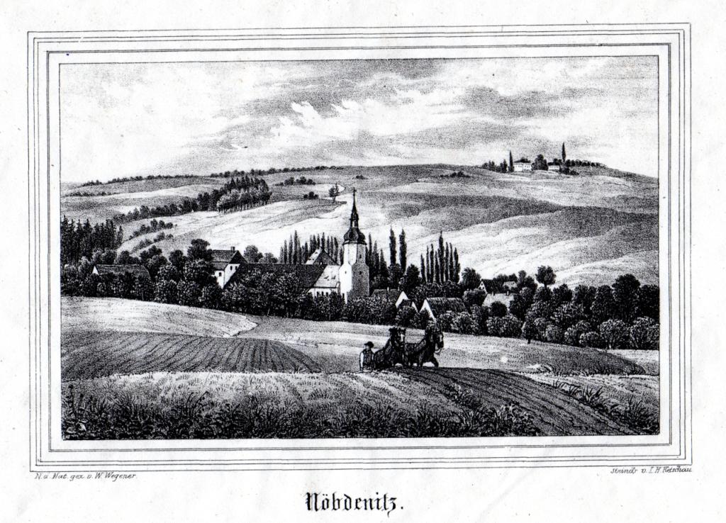 Ansicht von Nöbdenitz aus der Kirchengalerie um 1860 (Museum Burg Posterstein)